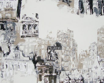 Montmartre, coupon, fabric, houses, buildings, Paris, cotton canvas