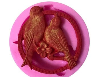 silicone mold for polymer clay bird couple
