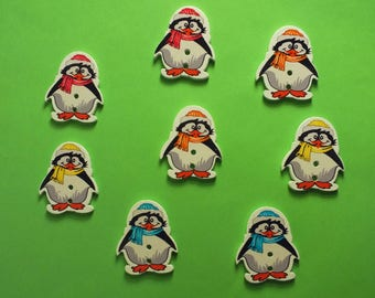 SET of 8 wood buttons: Penguin scarf 29 * 24mm