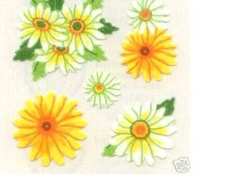 Mini STICKERS fabrics on leaf 5 * 16CM 15: 10 to 22mm daisies