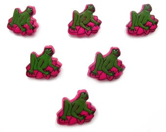 LOT 6 buttons: frog Lily Fuchsia 16mm