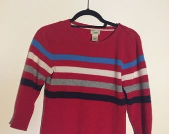 Cashmere sweater, red, 3/4 length sleve, striped, size small