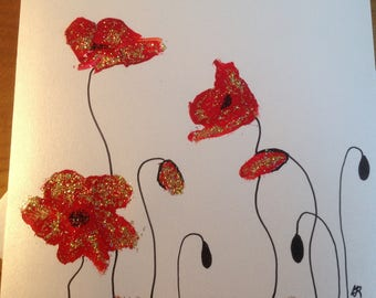 Double card by hand - gold and stylized red poppies