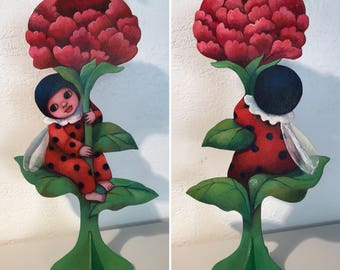 Flower and ladybug, unique creation on wood, cut and hand painted. Lady bug, flower, Valentine's day, love