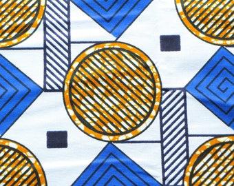 Graphic fabric WAX African round diamonds black orange blue stripes on white background