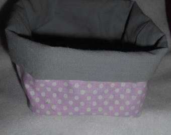 Basket, basket fabric reversible pink polka dots