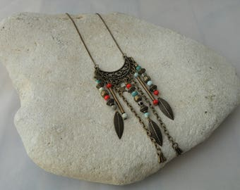 Red and turquoise beads and bronze collection necklace