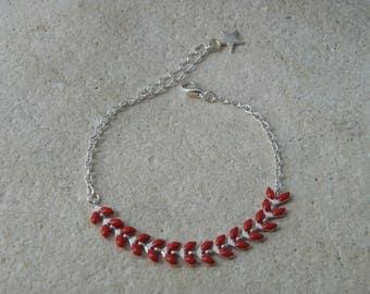 Red enameled ears chain bracelet
