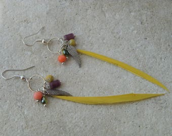 Beads yellow feather earrings and pendants