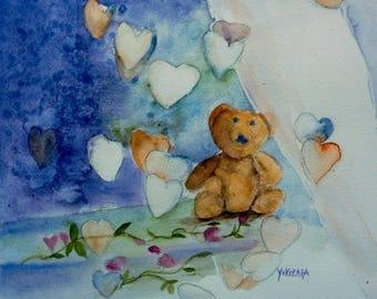 watercolor dream Teddy's love