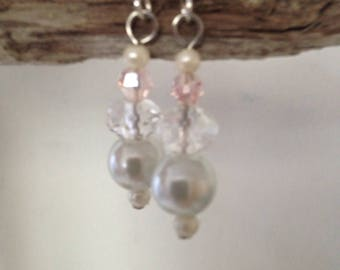 Delicate Pink  Crystal And White Pearl Earrings