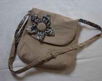 Lined cotton beige velvet bag
