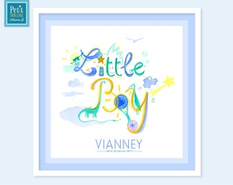 LITTLE BOY - Framed personalized - baby room Decoration