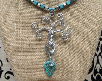 Aluminum Wire and Turquoise Tree of Life Necklace & Earrings Set