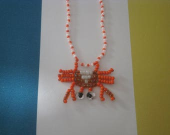 """""""Crab"""" necklace with seed beads."""