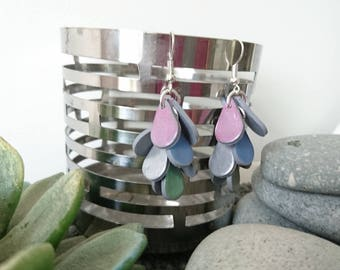 Multicolored MINI iridescent SCALES clusters of polymer clay earrings
