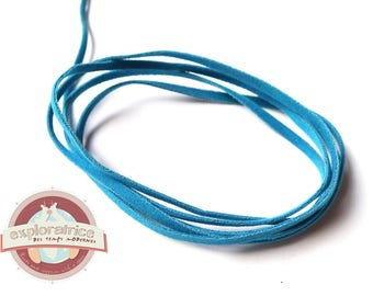 1 meter of 3mm turquoise blue suede cord