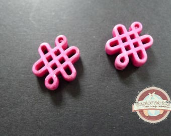 2 Chinese knots howlite ethnic 15x20mm pink