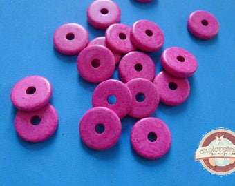 20 ethnic washers 2x13mm pink ceramic beads