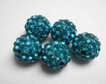 5 beads for shamballa turquoise10 mm Crystal rhinestones