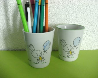 Glass or pencil holder personalized for child, naive rabbit, hand painted porcelain.