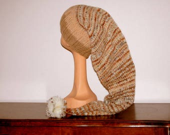 HIPPIE BABA Brown wool blend PIXIE bonnet