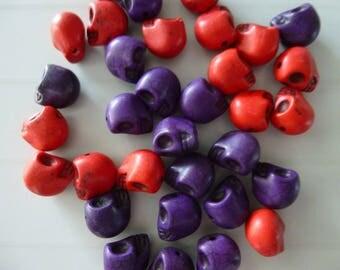 Set of 10 skeleton skull color howlite skull beads