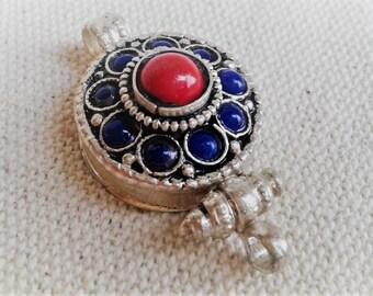 Pendant ethnic box Nepal Tibet - jewelry-ethnic Lapis Lazuli coral
