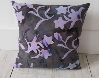 Batik flower pattern fabric pillow cover