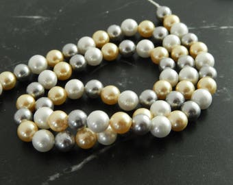 10 Pearl colored, 6 mm beads