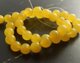 saffron yellow Jade 10mm ref 161 10 beads