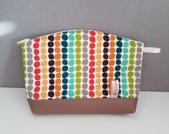 "Make up pouch taupe leather and fabric ""dots"", fully lined"