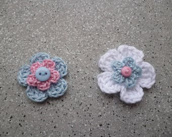 2 pretty hand made crochet cotton flowers