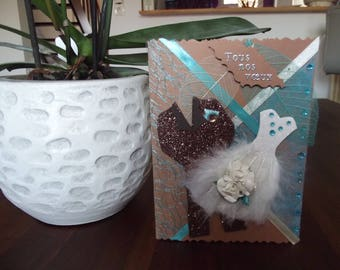 """Wedding card """"all our wishes"""", couple feather dress"""