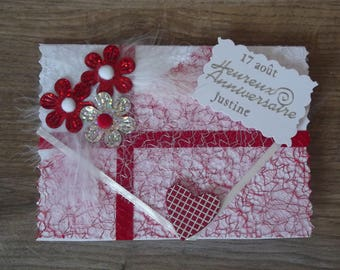 Custom birthday theme red and white card