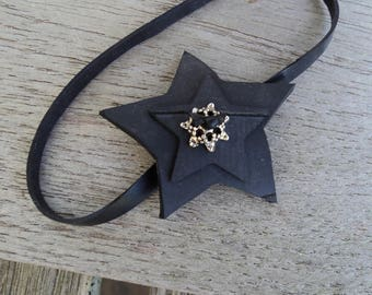 Anklet in inner tube recycled star with Pearl, metal