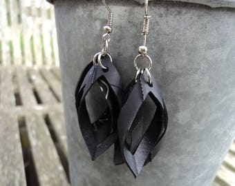 Bicycle inner tube recycled earrings - oval Stud Earrings