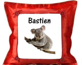 Red cushion Koala personalized with name