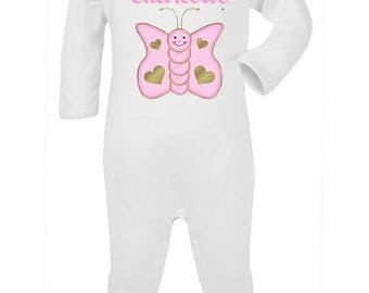 Pajamas baby butterfly personalized with name
