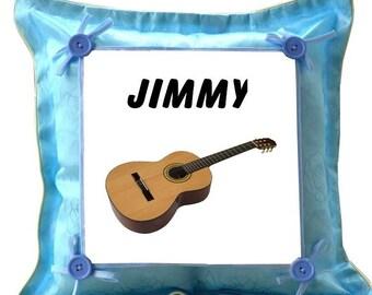 Blue Guitar custom cushion with name