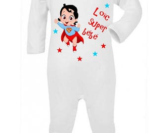 Personalized with name just Superbaby baby pajamas