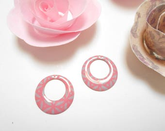 x 2 sequins pink grey 18 mm