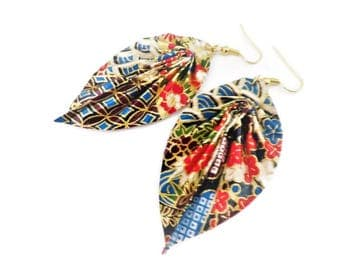 Patterned origami leaf earrings