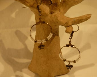 Earrings bronzes small hoop with little bows
