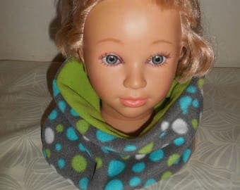 snood all polar boy shades grey, turquoise, lime and white