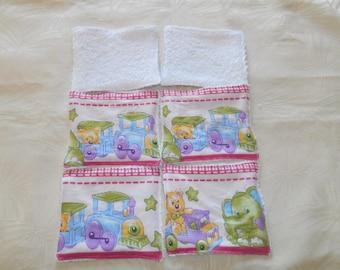 lot 6 wipes washable bamboo and cotton, elephant