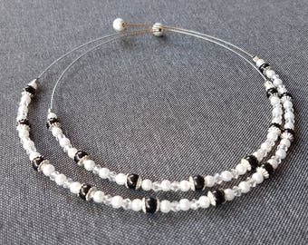 Silver beads necklace black and white glossy