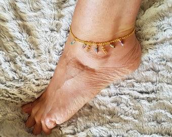 Ankle bracelet gold multicolor glass beads