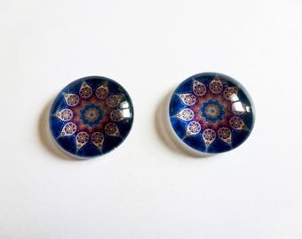 2 cabochons glass 18mm oriental ethnic pattern Blue rose (sfcv04)
