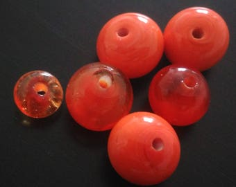 Set of six Orange beads - two tone glass